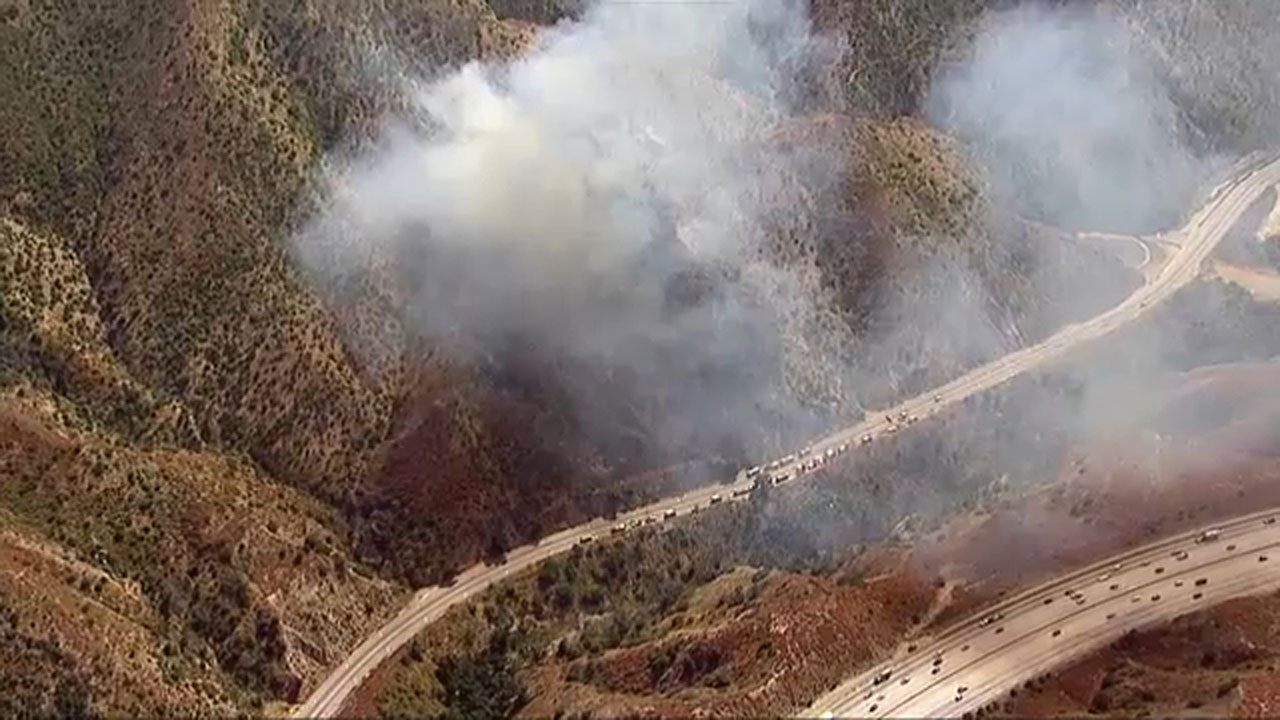 A brush fire was burning in La Tuna Canyon along the 210 Freeway.
