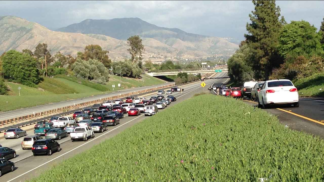 All lanes of the 210 Freeway were shut down Sunday, April 5, 2015 at Waterman Avenue in San Bernardino due to police activity.
