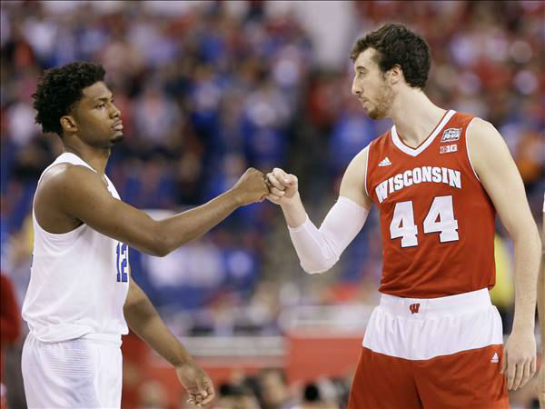 "<div class=""meta image-caption""><div class=""origin-logo origin-image none""><span>none</span></div><span class=""caption-text"">Duke's Justise Winslow, left, greets Wisconsin's Frank Kaminsky at the start of the NCAA Final Four college basketball tournament championship game. (AP Photo/Charlie Neibergall)</span></div>"