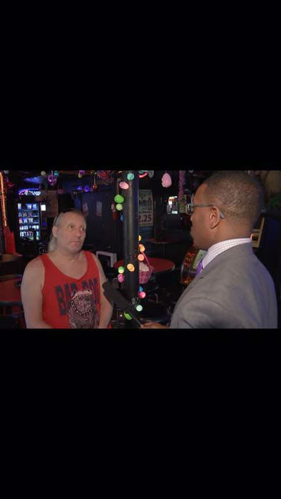 """<div class=""""meta image-caption""""><div class=""""origin-logo origin-image none""""><span>none</span></div><span class=""""caption-text"""">Chauncy Glover interviewing the person who claims they taught Robert Durst to dress like a lady (KTRK Photo)</span></div>"""
