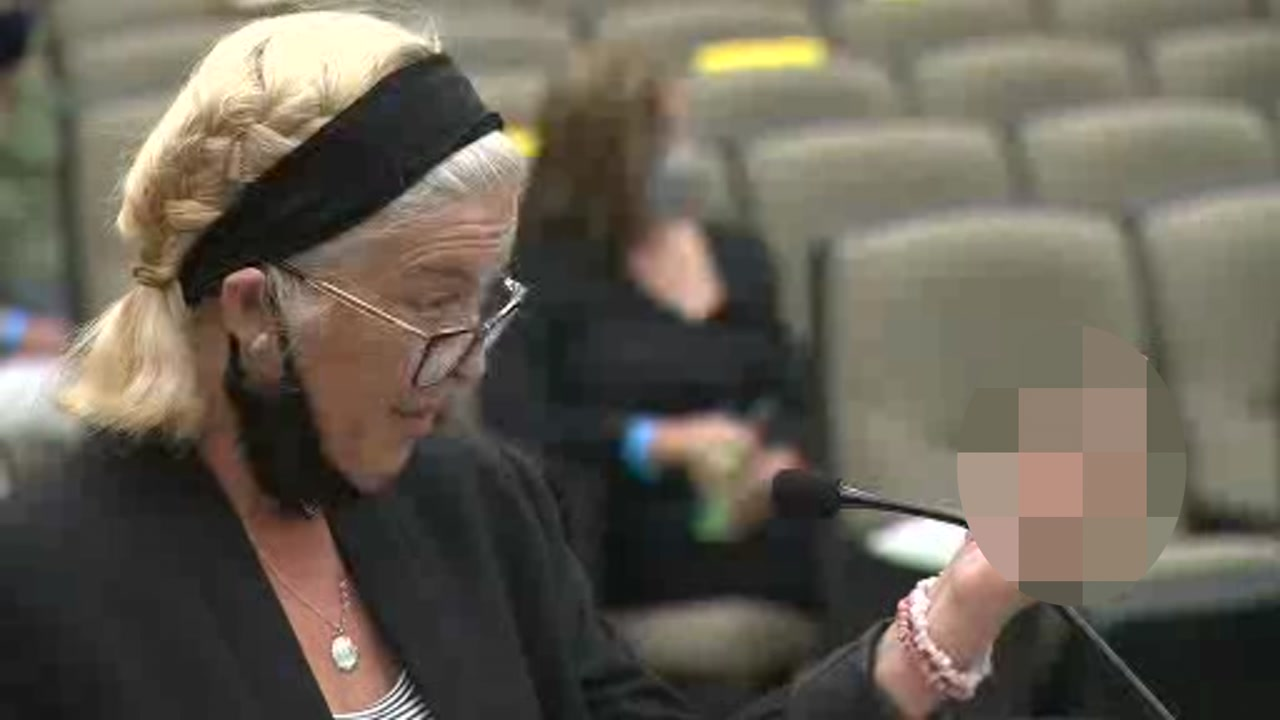 Patti Cosper, the daughter of one rape victim, gave Joseph DeAngelo an obscene hand gesture and cursed him during the first day of hearings in Sacramento County Superior Court.