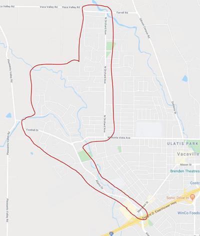 Map of Vacaville evacuations
