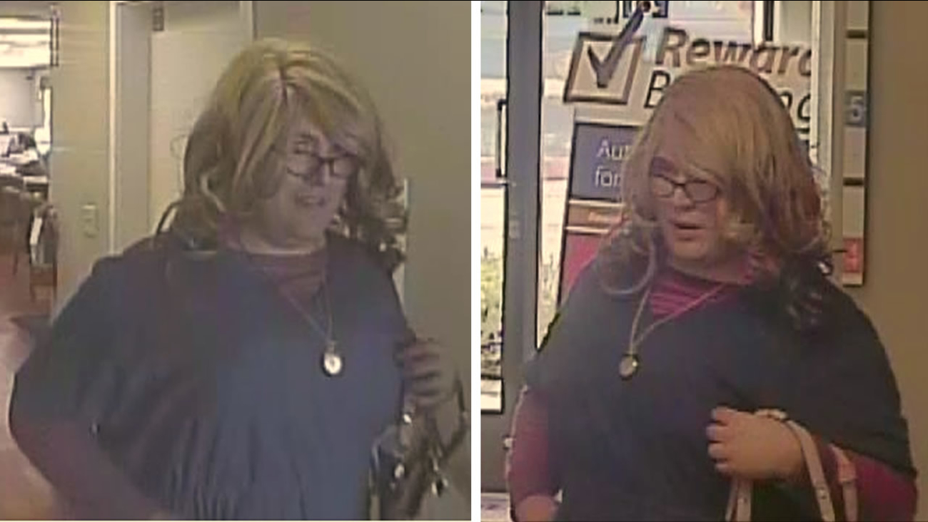 "Police are searching for a ""Mrs. Doubtfire"" lookalike who robbed a bank in Santa Cruz, Calif. on April 3, 2015."