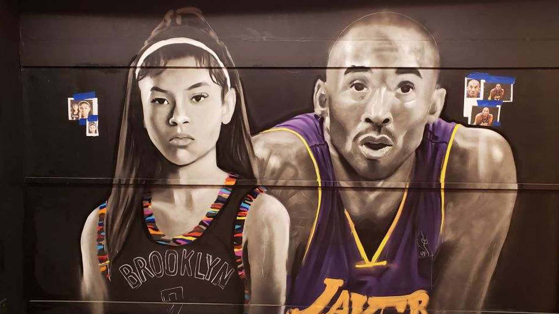 Remembering Kobe Bryant Mural Of Late Nba Star Daughter Unveiled At Roosevelt Field Mall On Long Island Abc7 New York