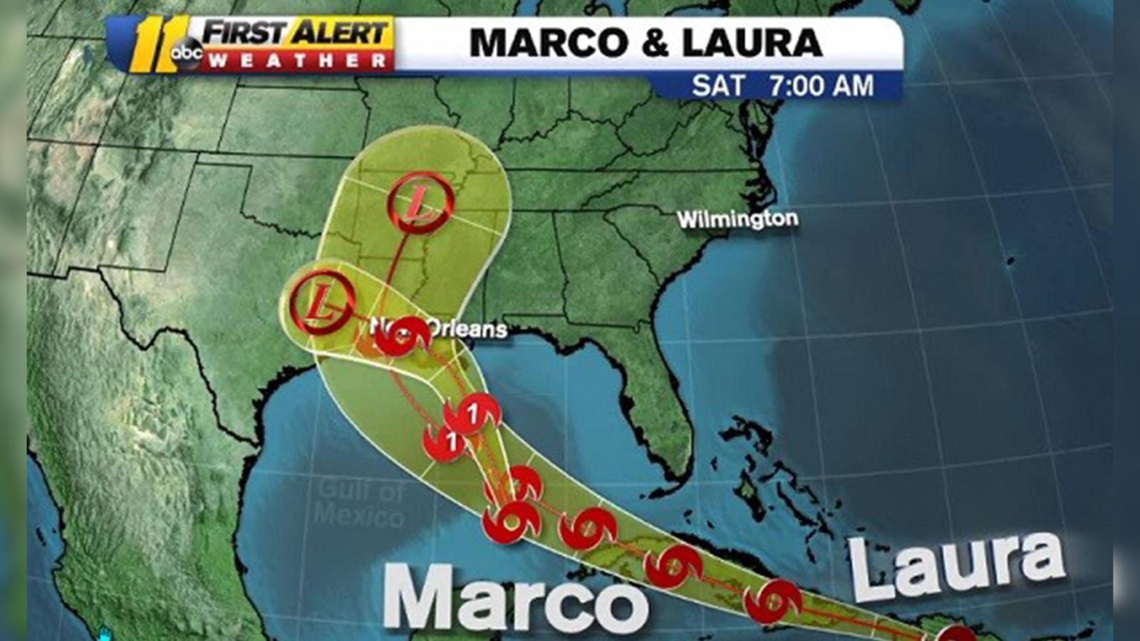 Marco And Laura Update Tropical Storm Marco Tracking Toward Louisiana Coast Tropical Storm Laura To Make Landfall As Category 2 Hurricane National Hurricane Center Says Armenian American Reporter