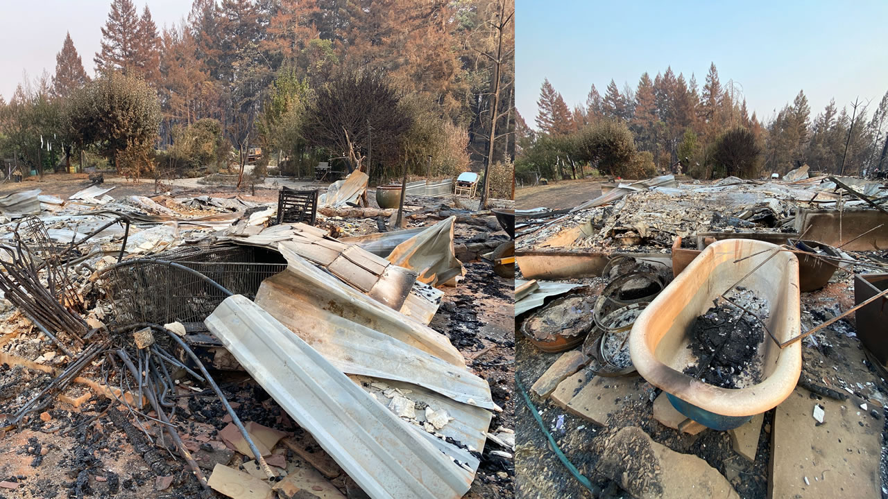 The Walbridge fire tore through a home leaving little to nothing. The split image shows the aftermath on Big Ridge Road in Healdsburg, Calif. on Aug. 24, 2020.