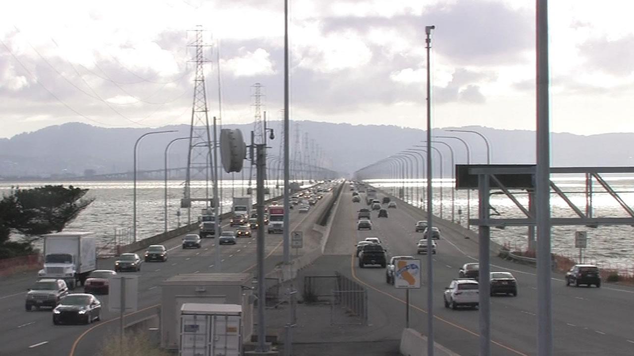 cars on the San Mateo-Hayward Bridge