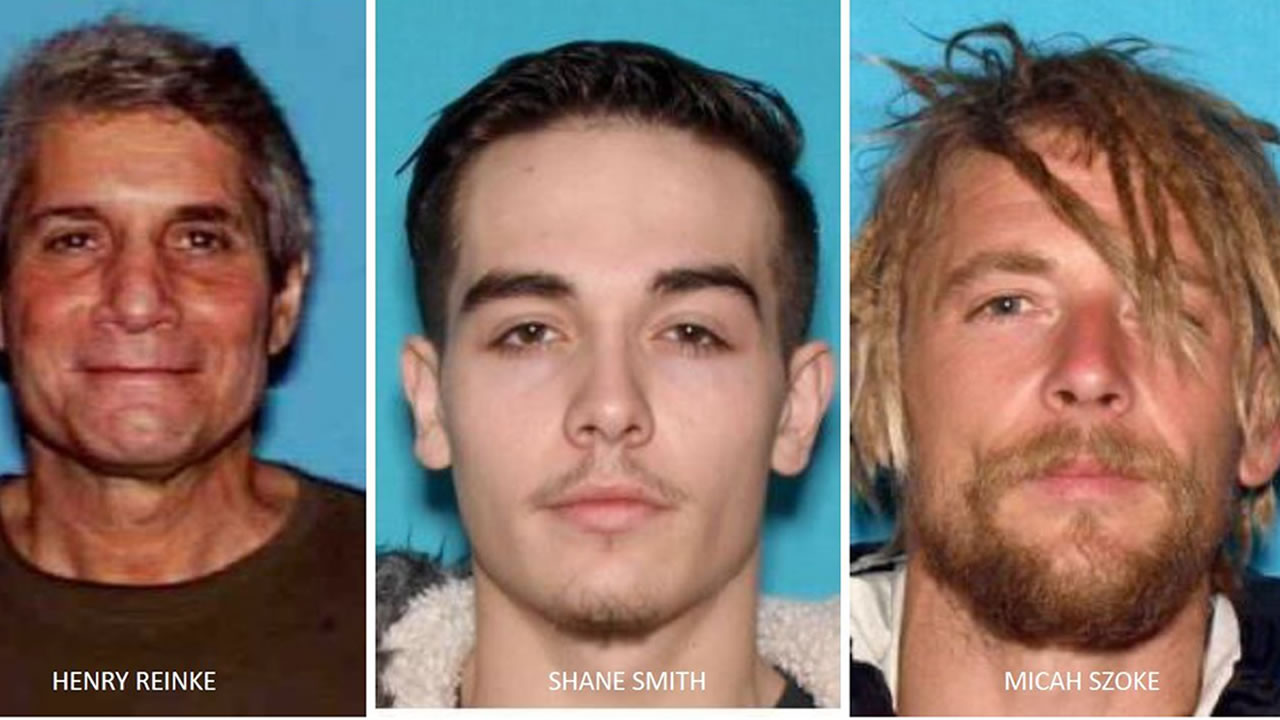 This triple split image shows three fire evacuees that the Santa Cruz Co. sheriffs are looking for. 70-year-old Henry Reinke, 21-year-old Shane Smith and 37-year-old Micah Szoke.