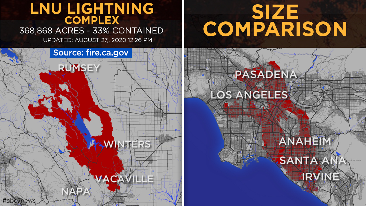 This map compares the size of the LNU Lightning Complex Fire, as of Thursday, Aug. 27, 2020, to the city of Los Angeles.