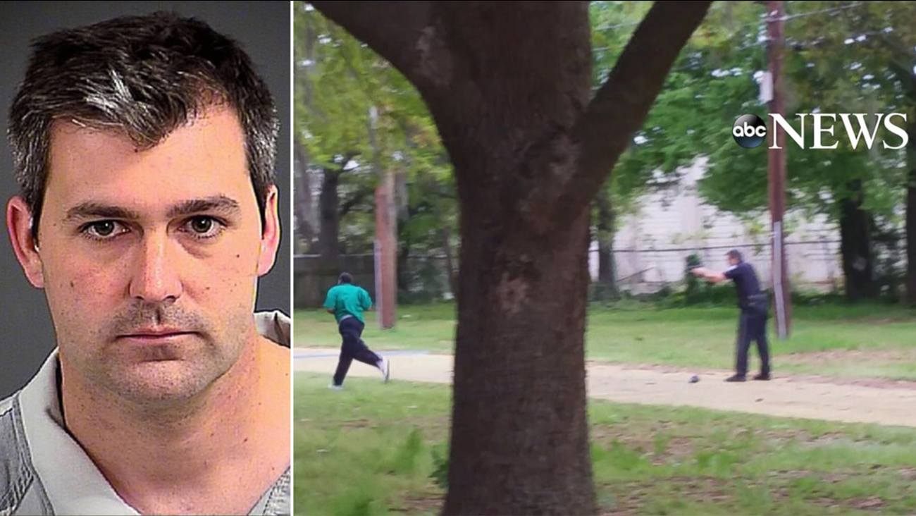 South Carolina Officer Michael Slager (left) was charged with murder after a bystander's video recorded him firing eight shots at an unarmed man's back as he ran away.