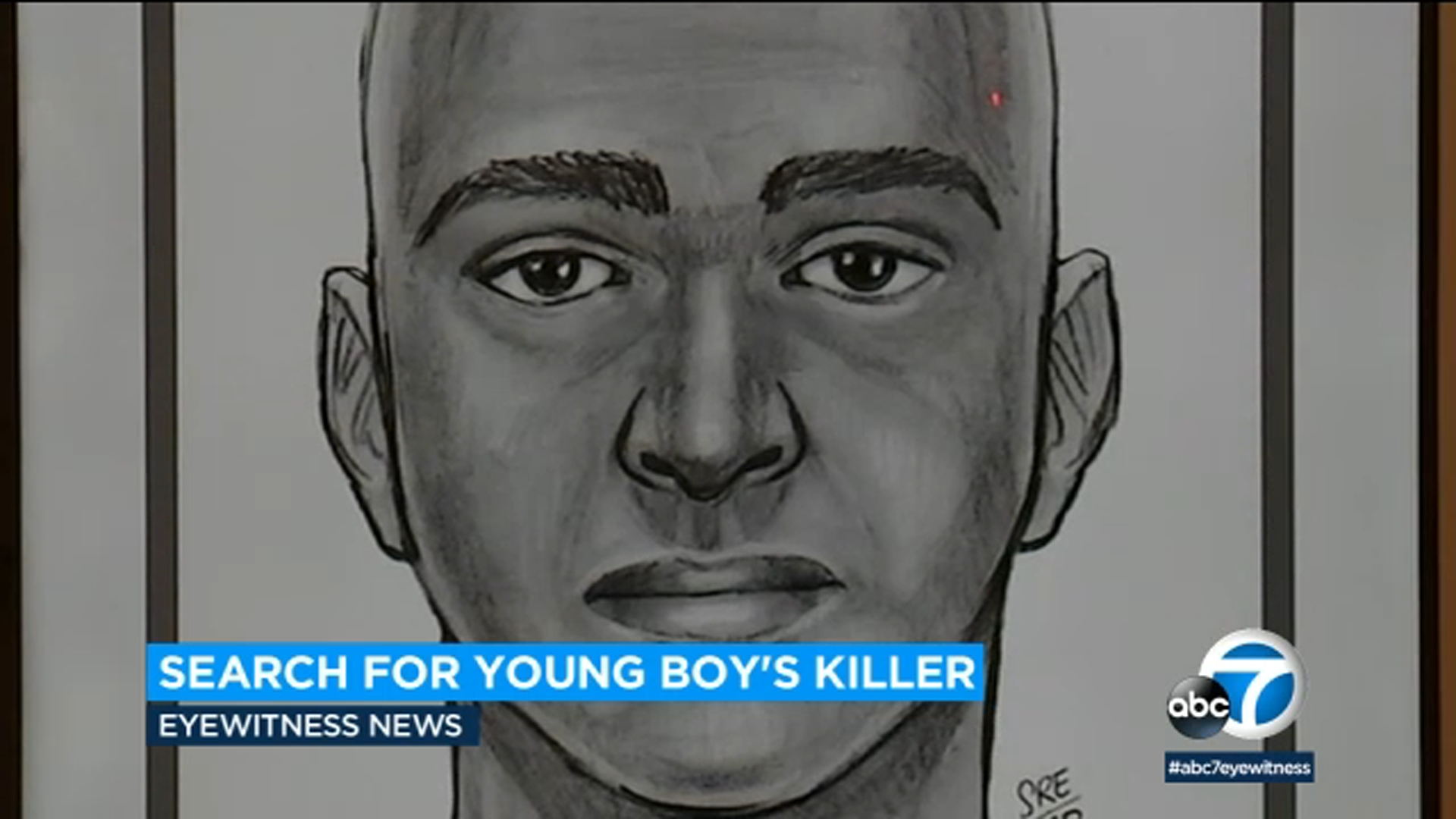 A sketch portrays the suspect in the killing of a 10-year-old child in La Puente.