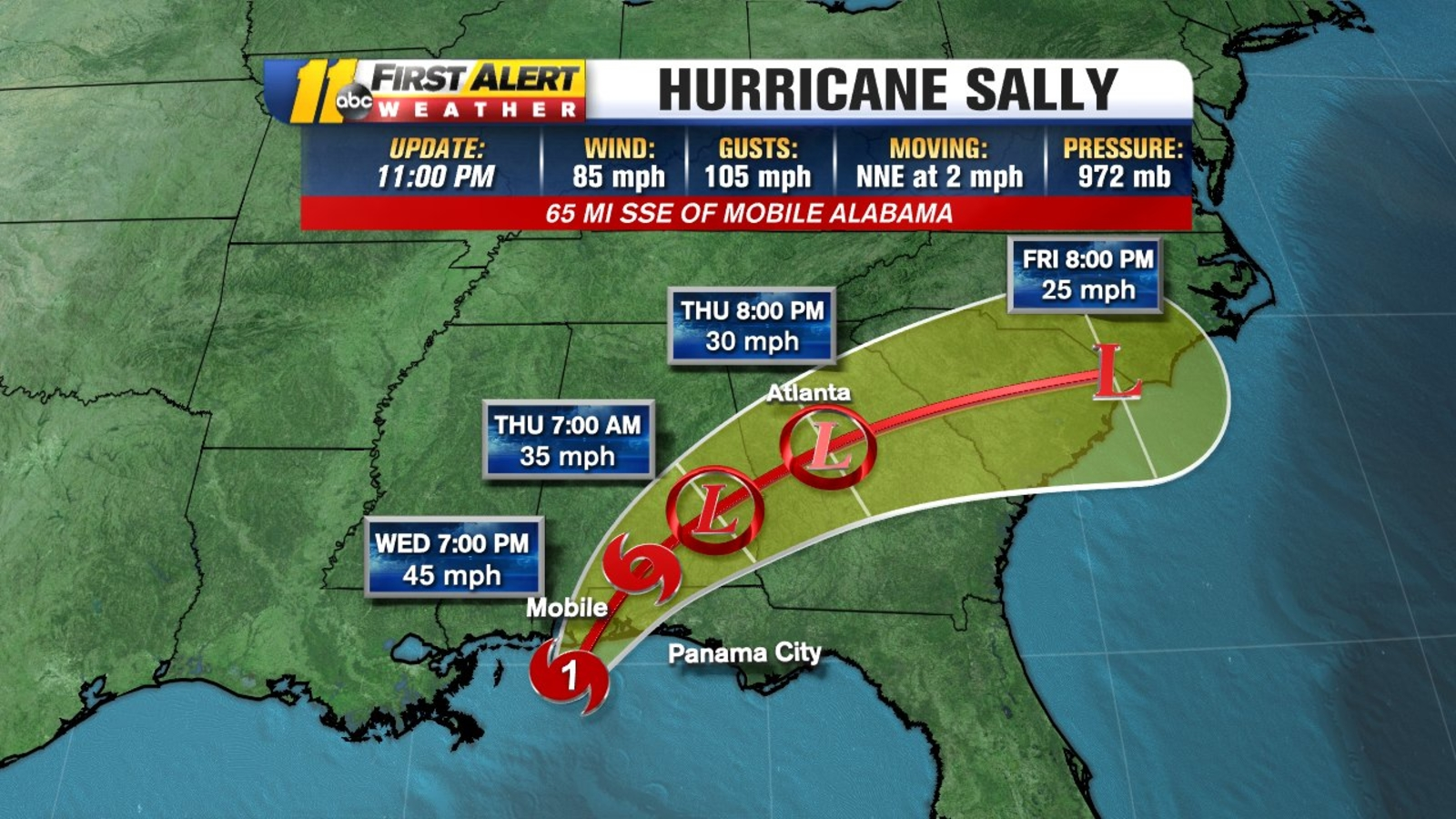 Hurricane Sally Tracker Predicts Historic Life Threatening Flooding In Mississippi Alabama Florida Nhc Noaa Abc30 Fresno