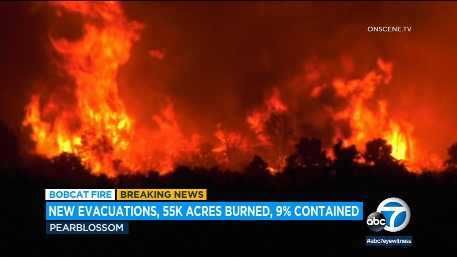 Bobcat Fire prompts new evacuation orders as blaze threatens Mount Wilson
