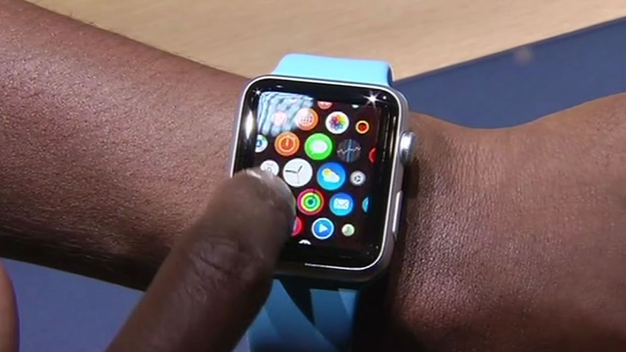 A man shows off the Apple Watch on his wrist