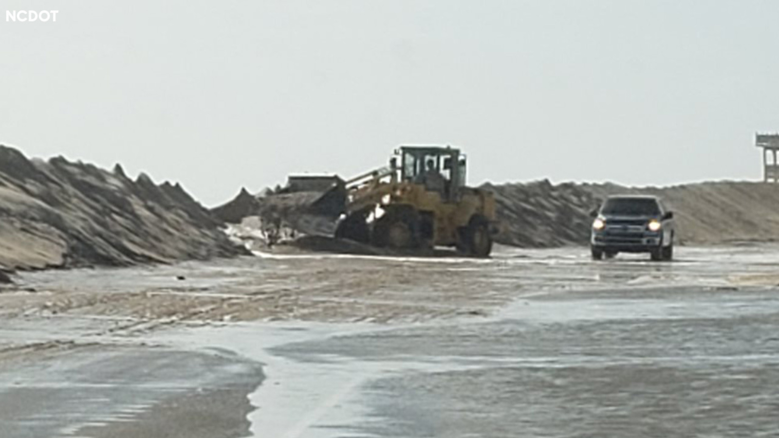 Ocean overwash closes parts of NC Highway 12 along Outer Banks