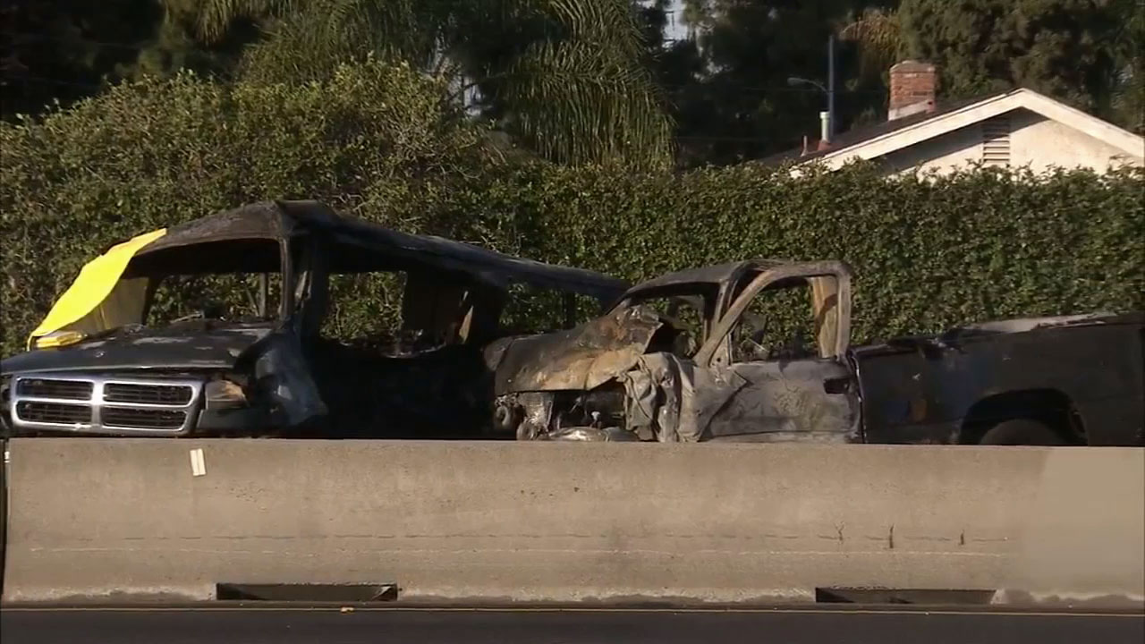 Two cars collided and erupted in flames on the southbound 405 Freeway in Westminster in the early morning hours on Sunday, April 12, 2015.