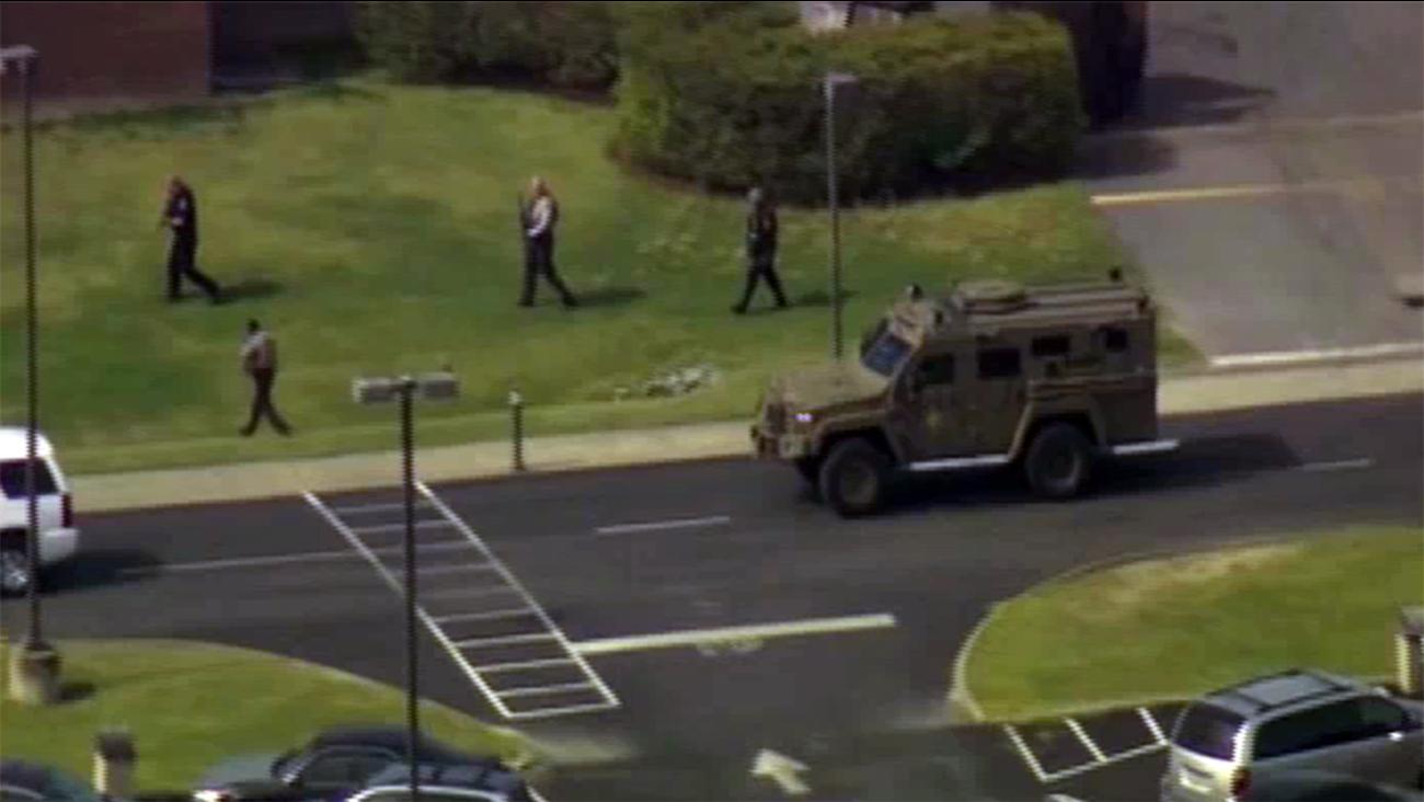 College campus shooting scene