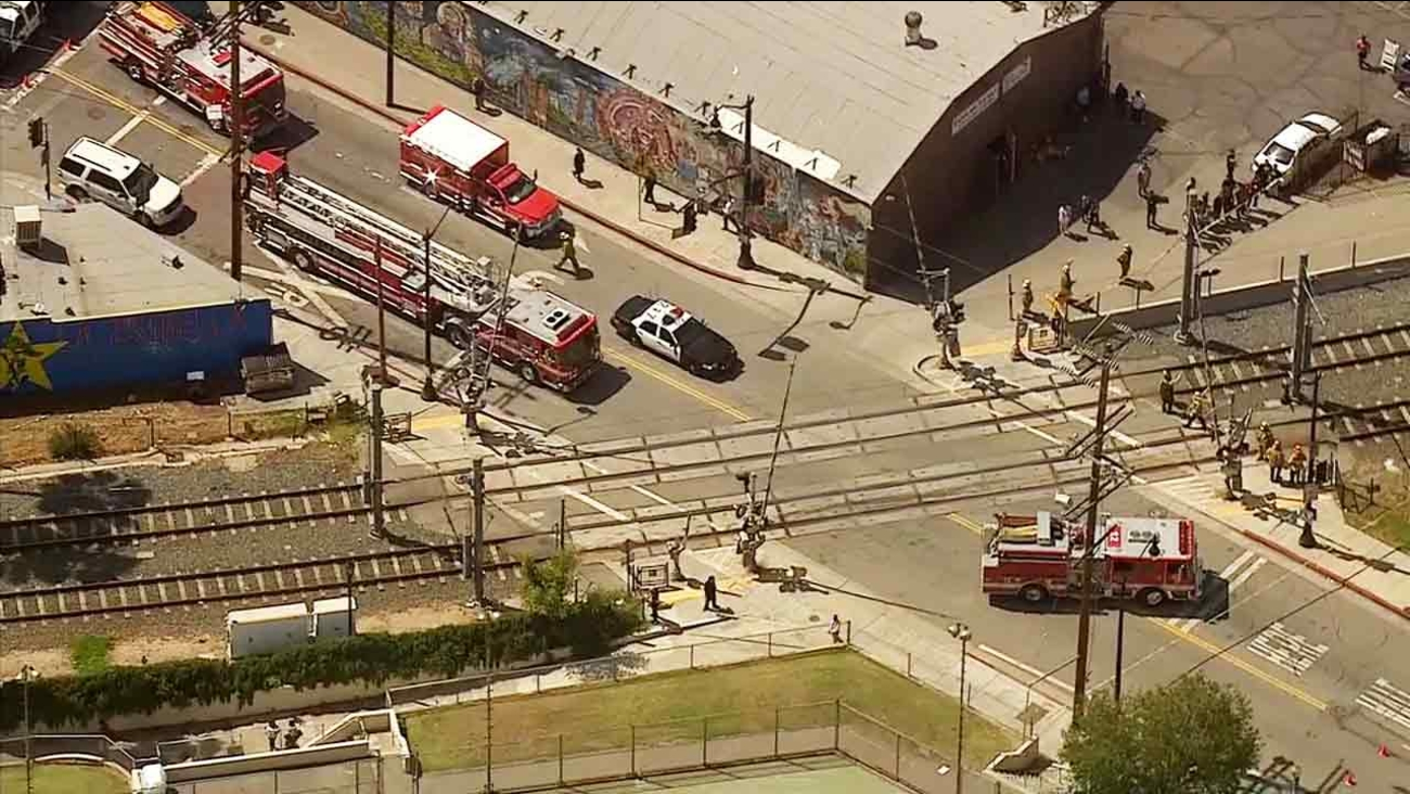 A pedestrian was killed after being struck by a Metro Gold Line train in Highland Park on Monday, April 13, 2015.