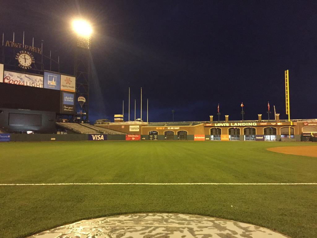 "<div class=""meta image-caption""><div class=""origin-logo origin-image none""><span>none</span></div><span class=""caption-text"">It's opening day at AT&T Park!  This is the empty baseball field in the early morning! SF Giants celebrate last year's world championship with with fans on Monday, April 13, 2015. (KGO-TV/Janet O)</span></div>"