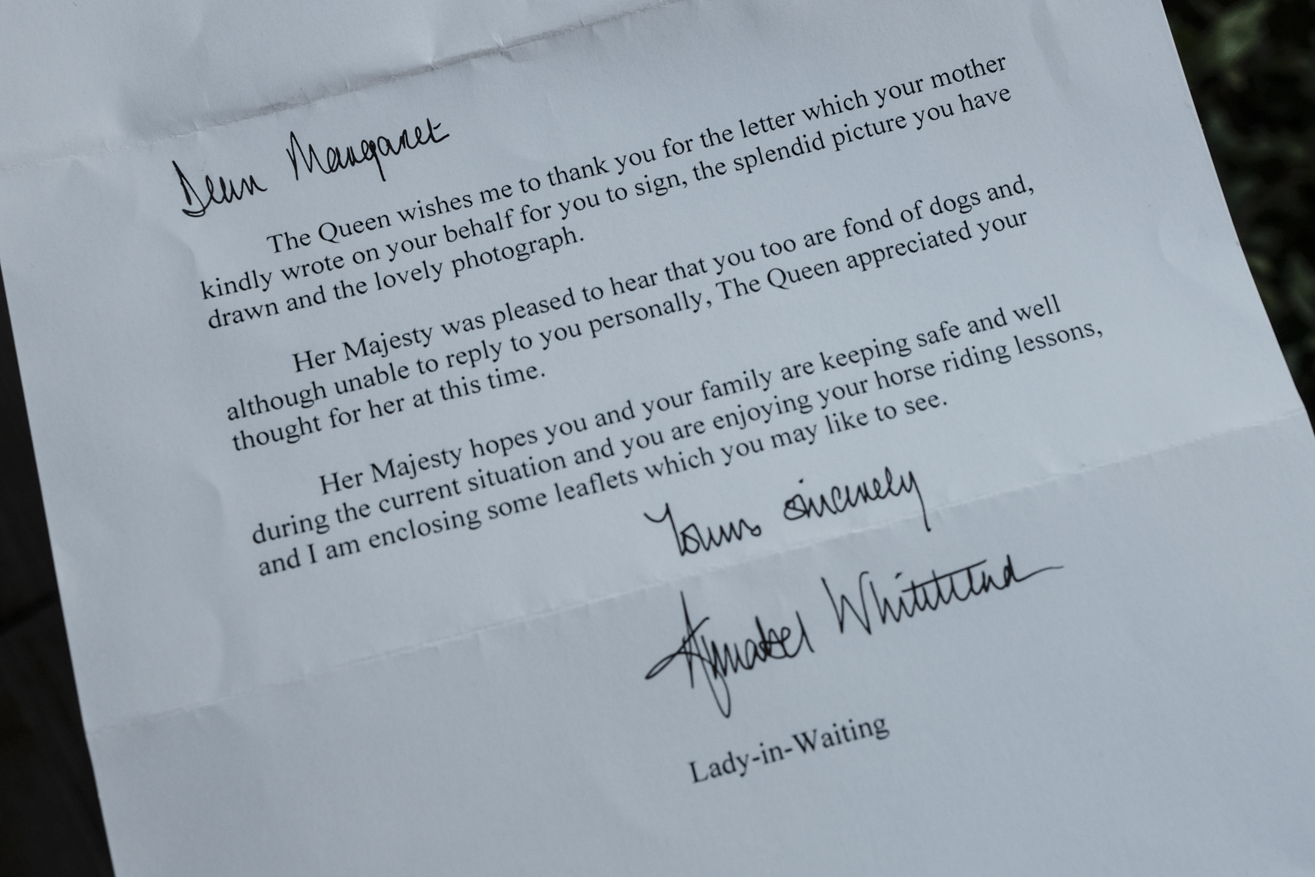 This image shows a letter Maggie Couch, of Santa Rosa, received in the mail from Queen Elizabeth.