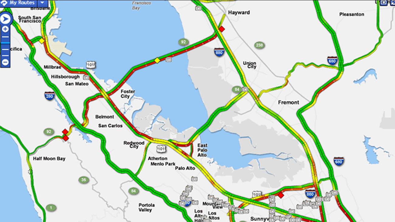 Highway backup on San Mateo Bridge