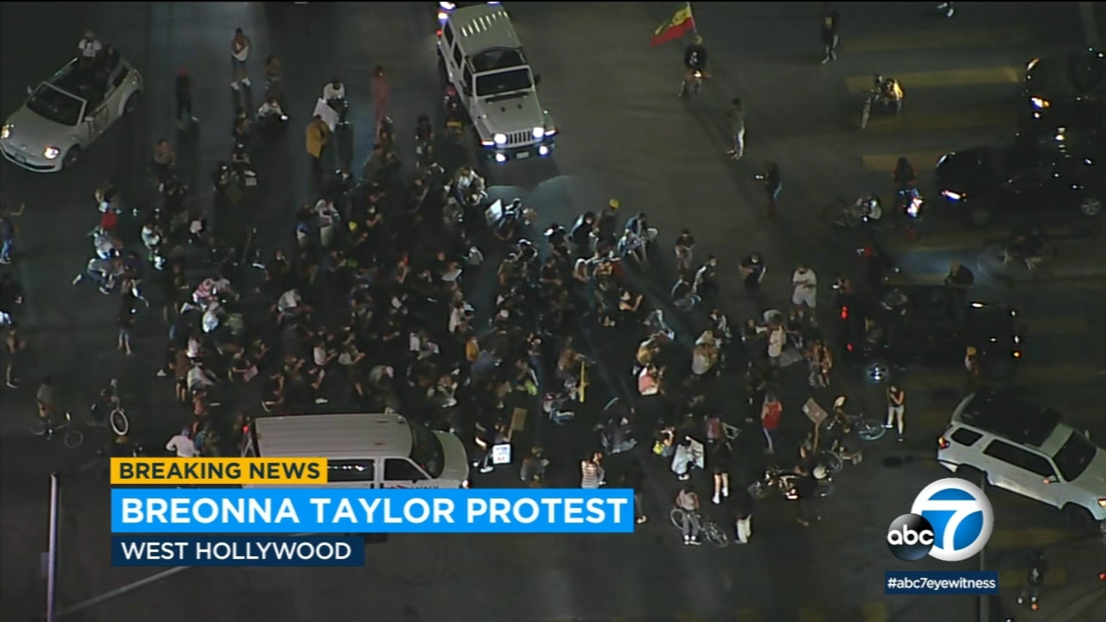 Breonna Taylor protesters march though streets of West Hollywood for third night