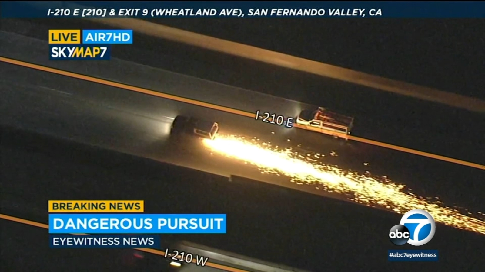 LA car chase: Sparks fly on major California freeways as police pursue suspect