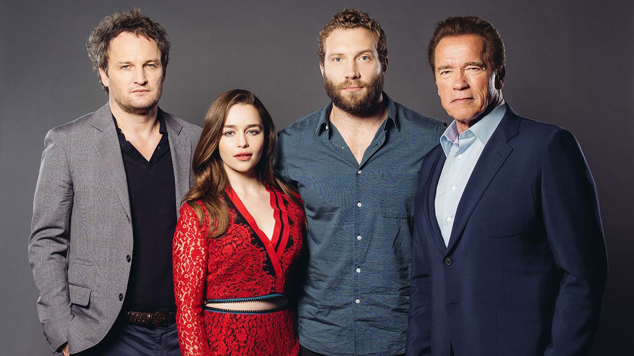 Jason Clarke, from left, Emilia Clarke, Jai Courtney, and Arnold Schwarzenegger