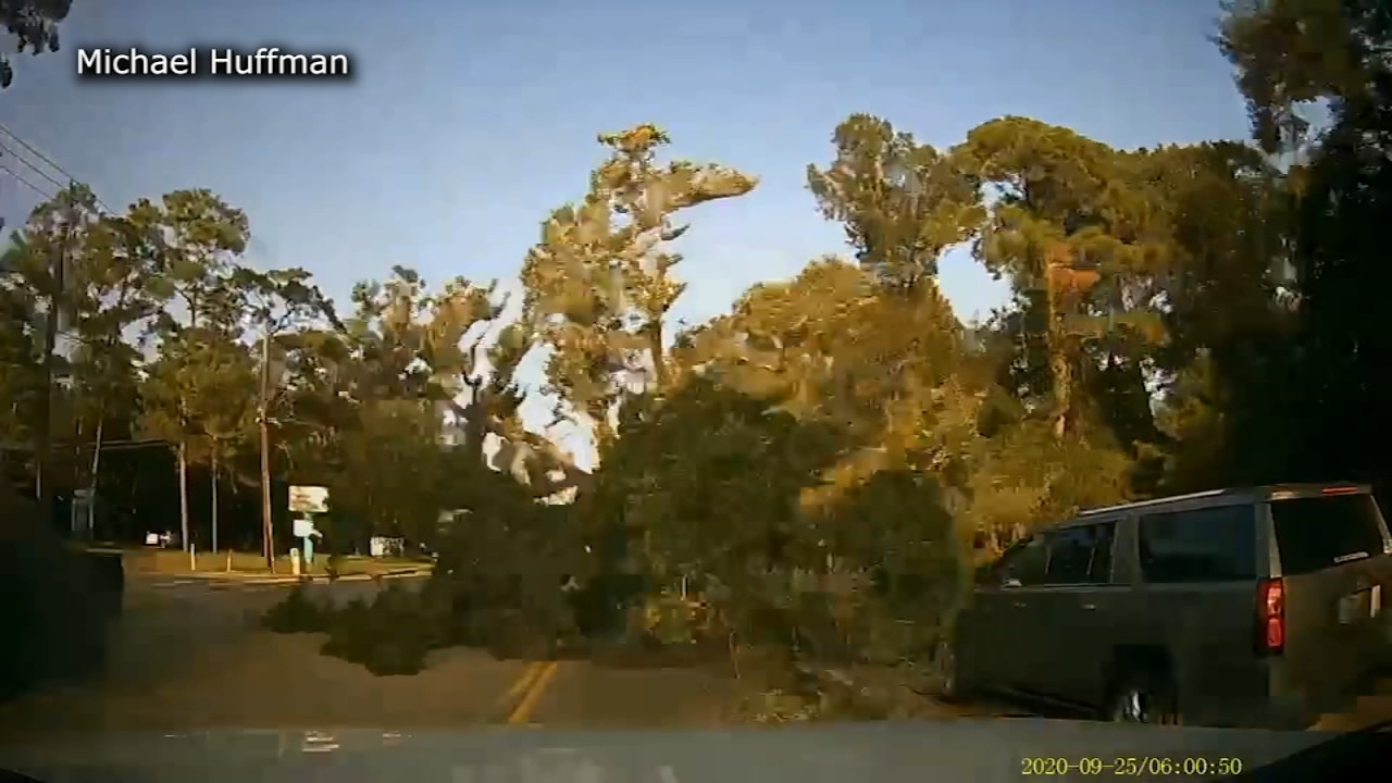 Tree nearly lands on top of driver Michael Huffman in Dickinson