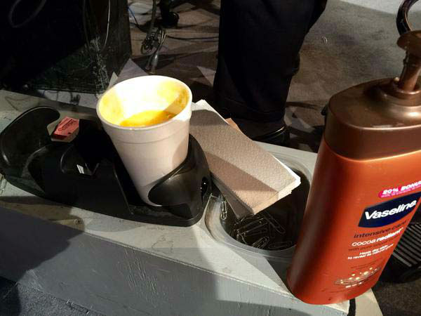 """<div class=""""meta image-caption""""><div class=""""origin-logo origin-image none""""><span>none</span></div><span class=""""caption-text"""">Here's a look behind the anchor desk - a smoothie, lotion, and tissues (KTRK Photo)</span></div>"""