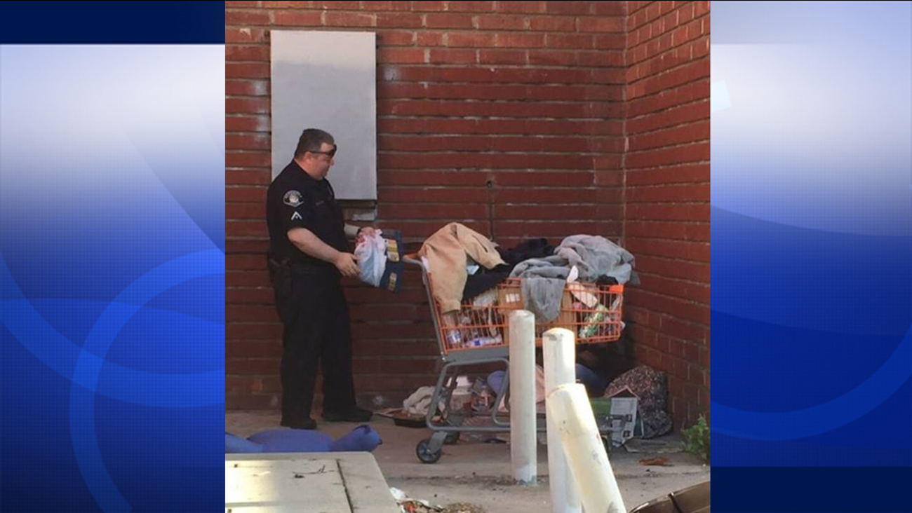 Two Alhambra police officers bought a pantless homeless man clothes Wednesday, April 15, 2015 after he told them he was having a tough time on the streets.