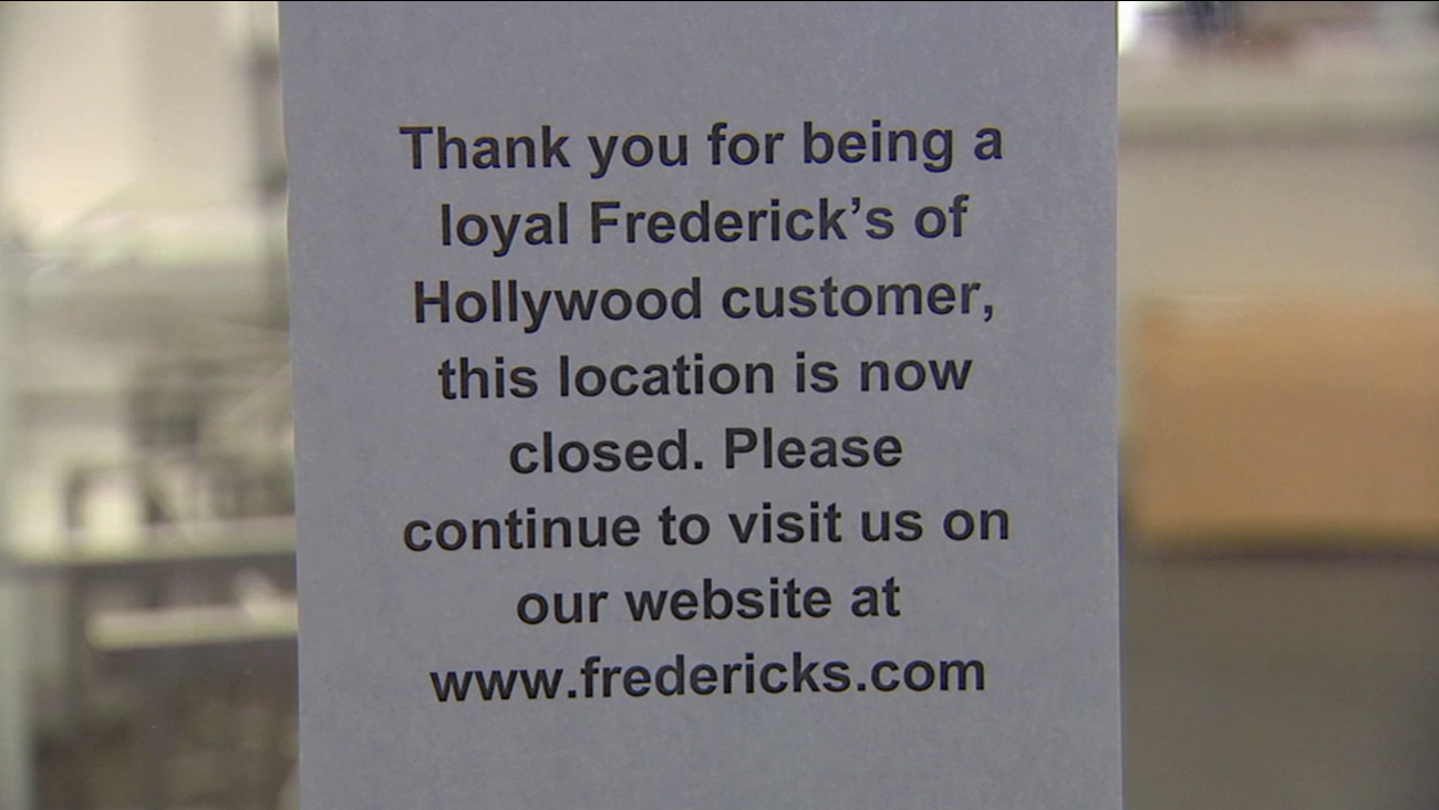 A sign posted at a Hollywood branch of Frederick's of Hollywood announces their closure on Wednesday, April 15, 2015.