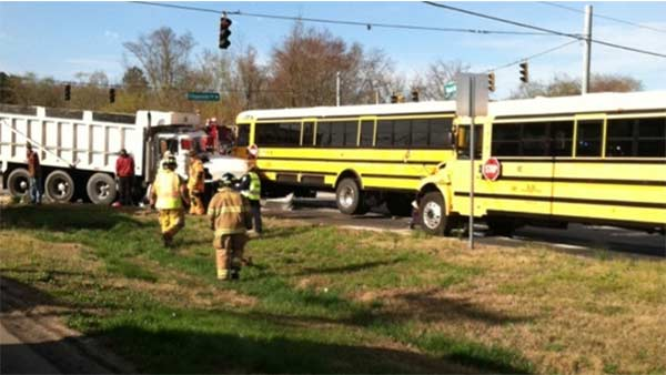 3 school buses and dump truck collide in Delaware