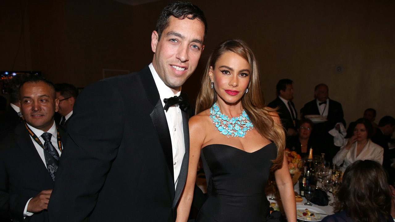 Sofia Vergara, right, and Nick Loeb pose in the audience at the 71st annual Golden Globe Awards at the Beverly Hilton Hotel on Sunday, Jan. 12, 2014, in Beverly Hills.