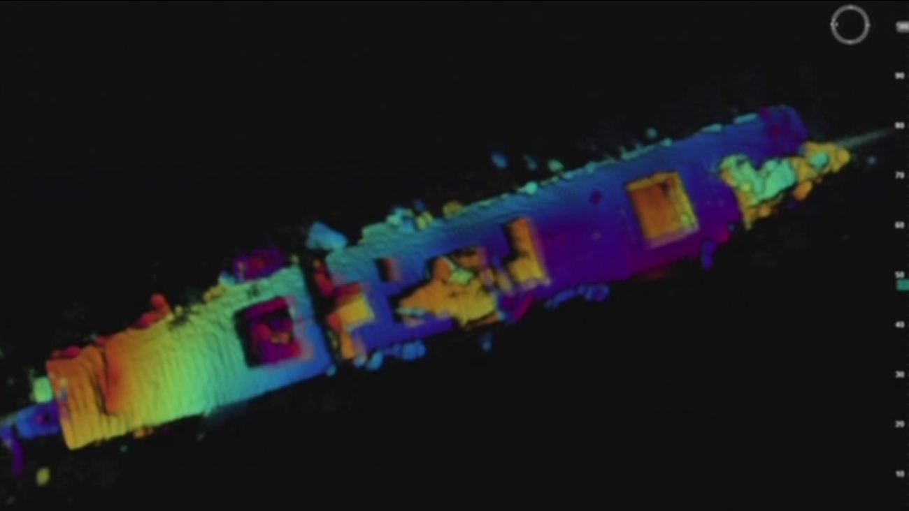 Radar images provided by NOAA and a Boeing submarine show the U.S.S. Independence resting under 2,600 feet of water off the coast of Half Moon Bay, Calif.