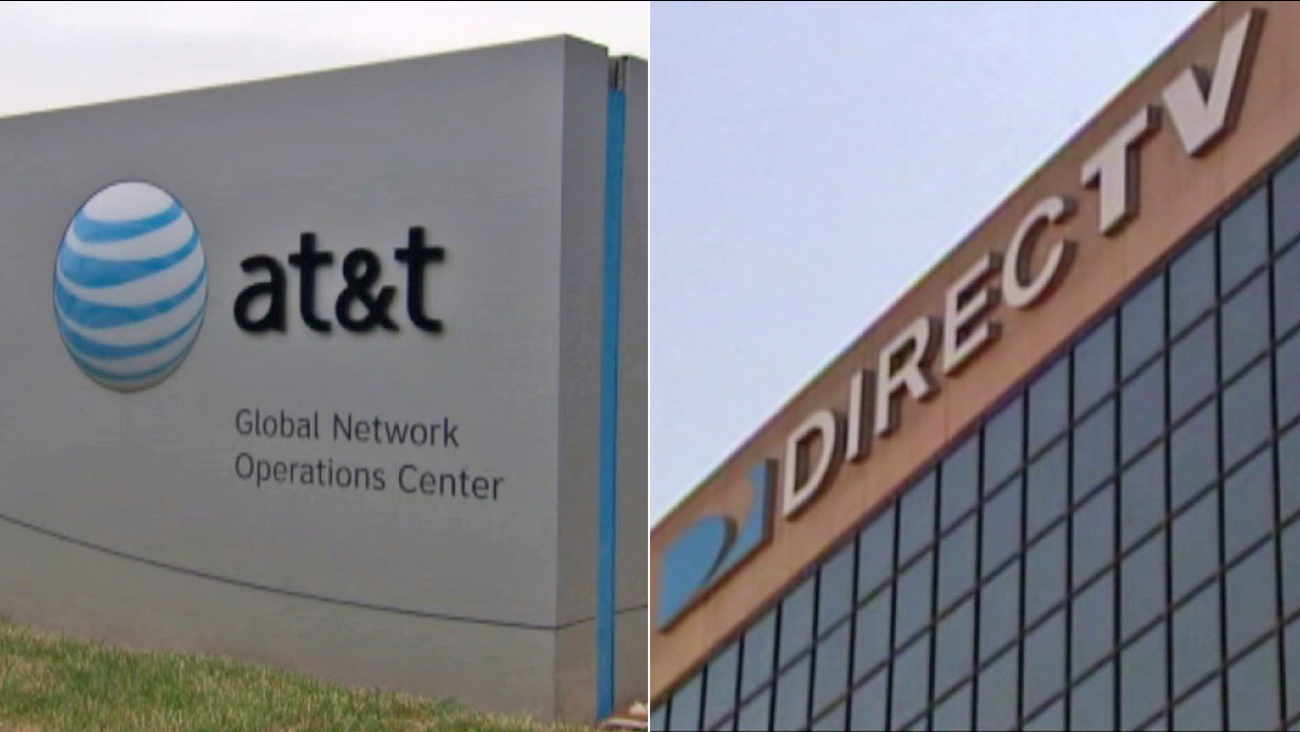 AT&T and DirecTV are seen in this undated split image.