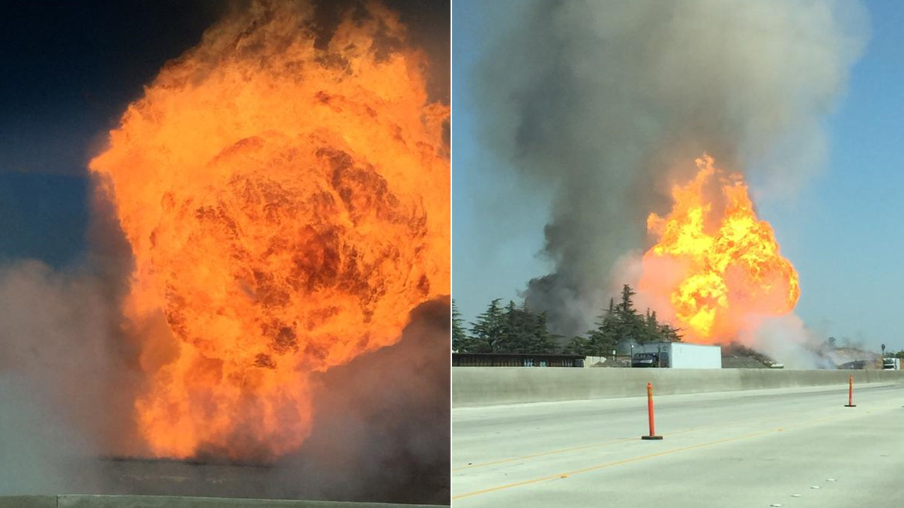 An explosion and fire erupted at the peace officers gun range on Weber Avenue in Fresno, Friday, April 17, 2015.