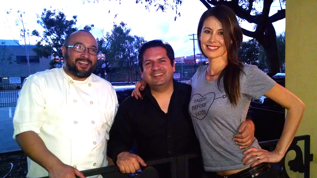Vista L.A.'s Patricia Lopez with Tacolandia founder Bill Esparza (center) and Gilberto Cetina Jr., chef at Chichen Itza Restaurant in South Los Angeles.