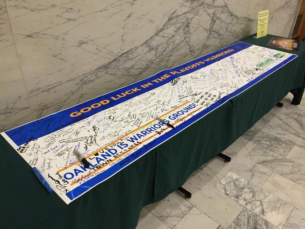 <div class='meta'><div class='origin-logo' data-origin='none'></div><span class='caption-text' data-credit=''>Golden State Warriors banner signed by fans at Oakland's City Hall on Friday, April 17, 2015. KGO-TV/Elissa Harrington</span></div>