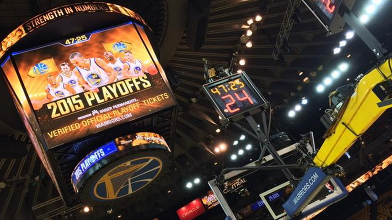 <div class='meta'><div class='origin-logo' data-origin='none'></div><span class='caption-text' data-credit='KGO-TV'>Oracle Arena before New Orleans Pelicans vs. Golden State Warriors Game 1.</span></div>