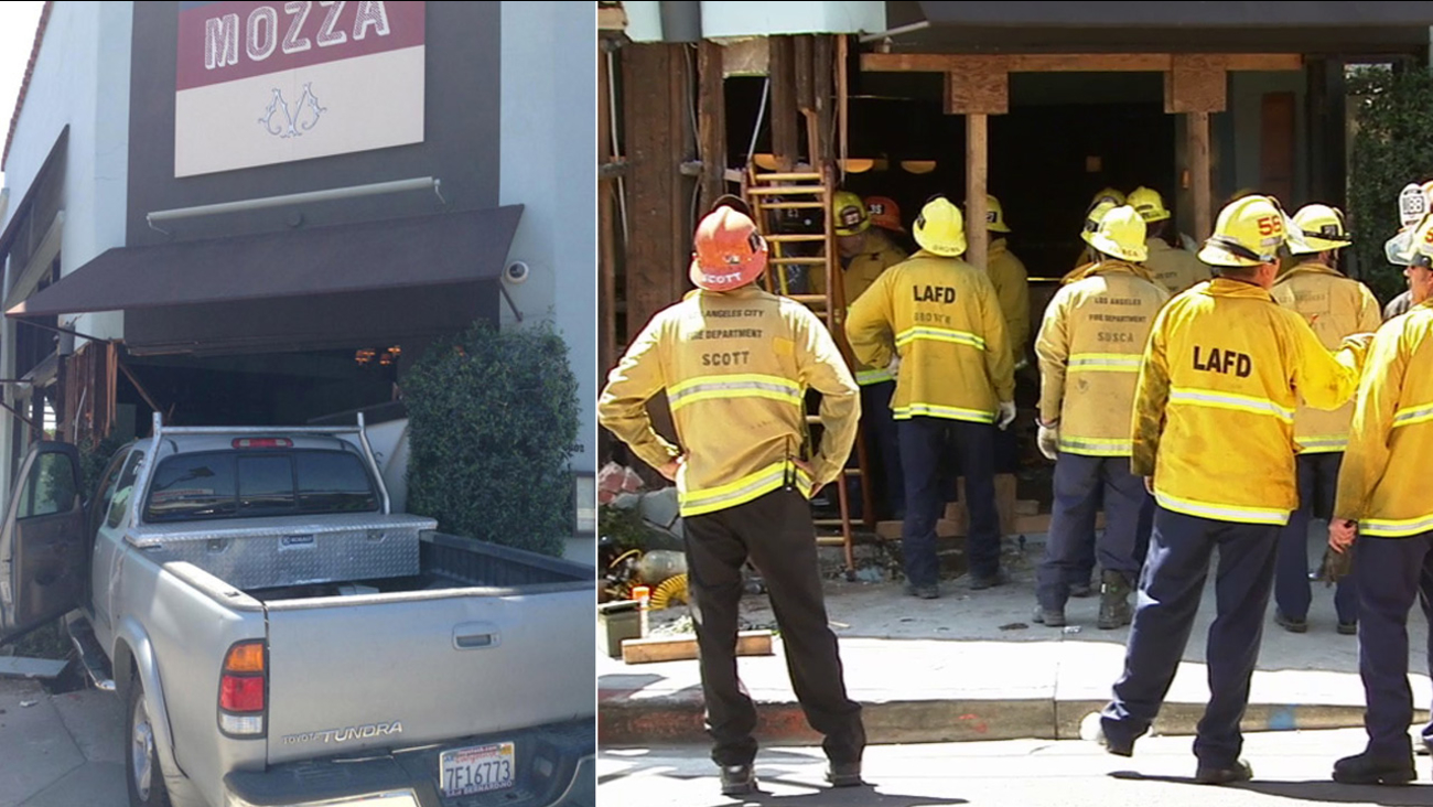 A truck crashed into a Hollywood restaurant on Saturday, April 18, 2015.