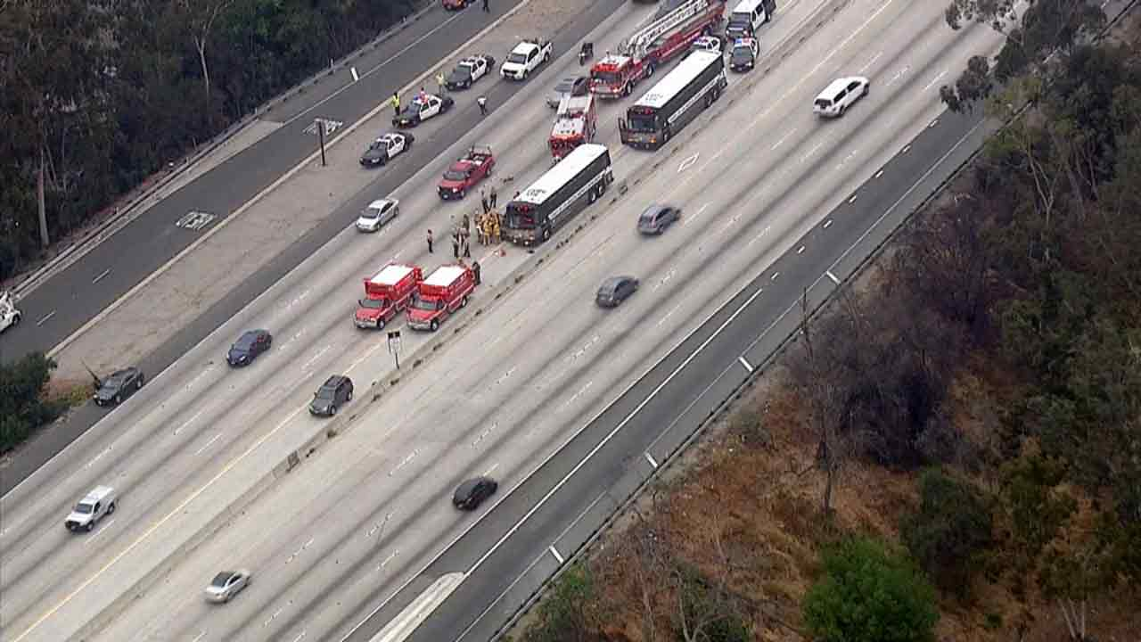 A Los Angeles County Sheriff's Department bus was involved in a crash on the 170 Freeway in North Hollywood on Monday, April 20, 2015.