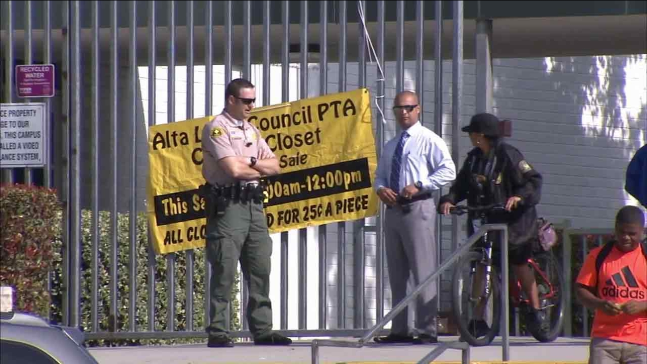 Alta Loma High School was under heightened security on Monday following an alleged threat posted on social media.