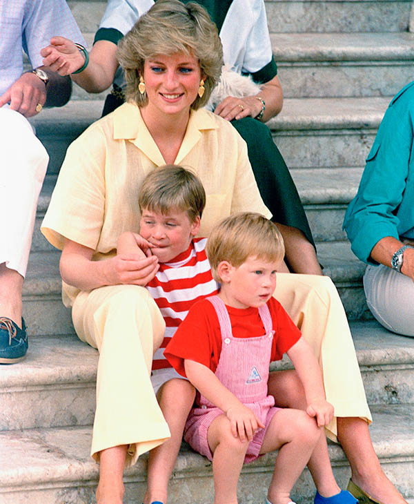 "<div class=""meta image-caption""><div class=""origin-logo origin-image ap""><span>AP</span></div><span class=""caption-text"">Princess Diana of Wales smiles as she sits with her sons, Princes Harry and William, on the steps of the Royal Palace on the island of Majorca, Spain, Aug. 9, 1987. (AP)</span></div>"