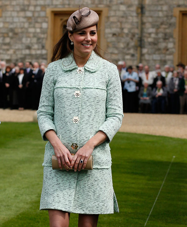 "<div class=""meta image-caption""><div class=""origin-logo origin-image ap""><span>AP</span></div><span class=""caption-text"">Britain's Duchess of Cambridge attends the National Review of Queen's Scouts at Windsor Castle, near London Sunday, April 21, 2013. (AP)</span></div>"