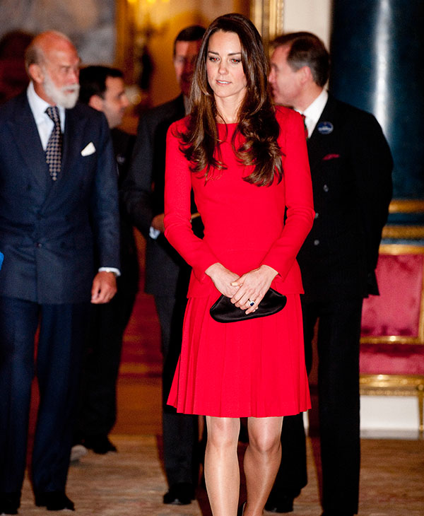 <div class='meta'><div class='origin-logo' data-origin='AP'></div><span class='caption-text' data-credit='AP'>Kate, The Duchess of Cambridge arrives at a Reception for the Dramatic Arts, at Buckingham Palace, London, Monday, Feb. 17, 2014.</span></div>