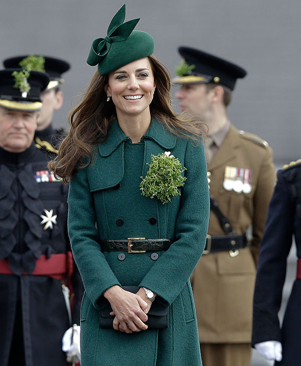 "<div class=""meta image-caption""><div class=""origin-logo origin-image ap""><span>AP</span></div><span class=""caption-text"">Kate, The Duchess of Cambridge during a visit to the 1st Battalion Irish Guards at the St. Patrick's Day Parade at Mons Barracks, Aldershot, in England, Monday, March 17, 2014. (AP)</span></div>"