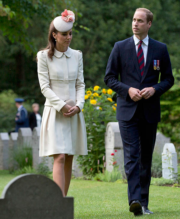 <div class='meta'><div class='origin-logo' data-origin='AP'></div><span class='caption-text' data-credit='AP'>The Duke and Duchess of Cambridge arrive for a ceremony to mark the 100th anniversary of the outbreak of World War I in St. Symphorien, Belgium on Monday, Aug. 4, 2014.</span></div>