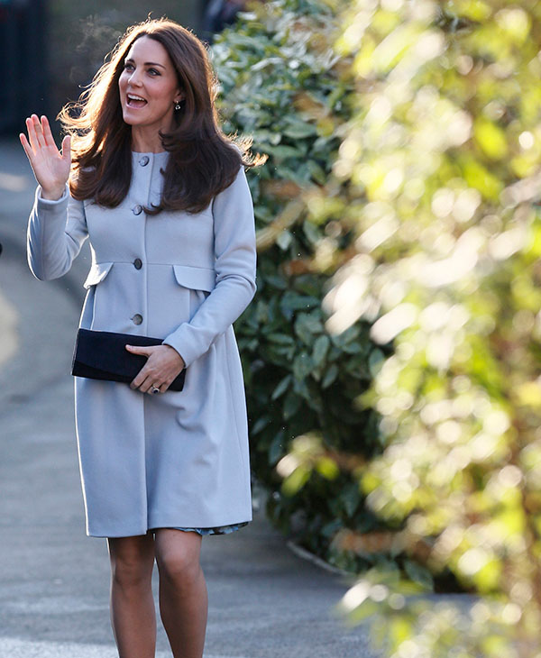 <div class='meta'><div class='origin-logo' data-origin='AP'></div><span class='caption-text' data-credit='AP'>Britain's Kate, Duchess of Cambridge, waves as she arrives to attend a coffee morning at Family Friends, in Kensington, London, Monday Jan. 19, 2015.</span></div>