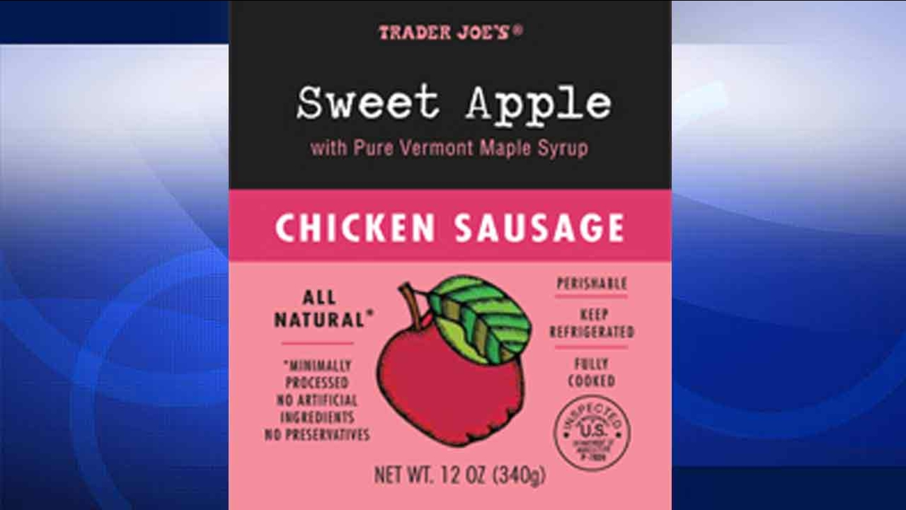 Trader Joe's is recalling its Sweet Apple Chicken Sausage because the products may contain small plastic pieces.